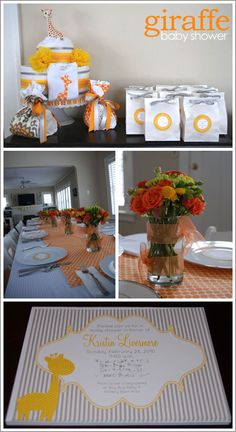I just like the flower centerpieces in these pictures.  Good color combinations for safari shower.