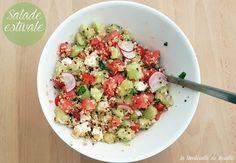 Salade quinoa/boulgour, féta, oignonx nouveaux, radis, concombre, pastèque et menthe