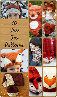 10 free knit and crochet fox patterns including scarves, mittens, gloves, hats and socks. Knitting For Kids, Free Knitting, Knitting Projects, Baby Knitting, Crochet Projects, Sewing Projects, Knitting Socks, Knit Or Crochet, Cute Crochet