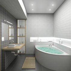 carrelage mural pour la salle de bain des plaques en blanc et gris et un - Carrelage Salle De Bain Blanc Relief
