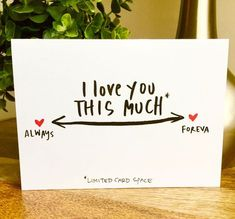 Letter Discover I Love You This Much Card Anniversary Card Social Distancing Card Funny Vanlentines Day card i love you this much card hand lettered valentines day card one year anniversary card paper anniversary by SideSandwich on Etsy Anniversary Cards For Boyfriend, Paper Anniversary, Boyfriend Card, Anniversary Gift Ideas For Him Diy, Homemade Anniversary Gifts, Diy Cards For Boyfriend, Husband Anniversary, Wedding Anniversary, 2 Year Anniversary Quotes