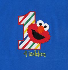 BIRTHDAY SHIRT - PERSONALIZED Shirt - Elmo - Sesame Street - Named Shirt - Number Shirt - Shirt - Tshirt - Infant - Toddler - Clothing on Etsy, $14.00