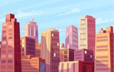Vector beautiful sunshine over cartoon city. Cityscape with sun light.Cute modern architecture.Vector stock illustration.