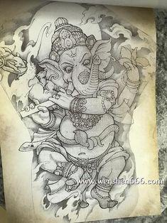 满背黑灰象神纹身手稿