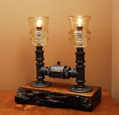Industrial Style Lamp with Glass Insulators and by TRoweDesigns