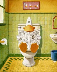 """I recently met Michael Bedard, and DESPERATELY want some of his """"Sitting Duck"""" art.  This one's called """"Sh*tting Duck"""" and belongs on my bathroom wall, facing the toilet."""
