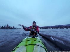 Bryan Hansel testing a Matsu drysuit on a winter Lake Michigan for a review in his blog Paddling Light.