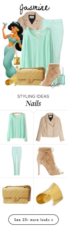 """""""Jasmine - Fall - Disney's Aladdin"""" by rubytyra on Polyvore featuring T By Alexander Wang, NYDJ, Disney, Judy Geib, Maiyet, Essie, Chanel and Gianvito Rossi"""