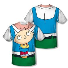 FAMILY GUY STEWIE CARRIER COSTUME (FRONT & BACK) MENS T SHIRT SM M LG XL 2XL 3XL #FAMILYGUY #Sublimation