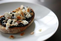 Cherry jam, goat feta and toasted almond tartine | Wandering Spice