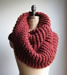Super Snuggly Chunky knit cowl Cinnamon. Rust. by Happiknits, $79.00