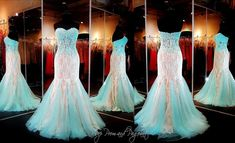 Another sheer bodice, turq godets, bodice accents.  Mermaid fit