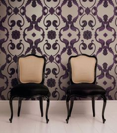 3 tips for modern home fashion with wallpaper and fabric - we love damask!!