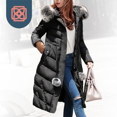 Cheap jacket women, Buy Quality hoody jacket women directly from China jacket embroidery Suppliers: Women's winter jacket cotton winter coat X-Long Parkas Faux Fur Hoodie down jackets Office Outfits, Winter Outfits, Long Black Winter Coat, Faux Fur Hoodie, Long Parka, Winter Jackets Women, Dress And Heels, Hoodie Jacket, Hipster