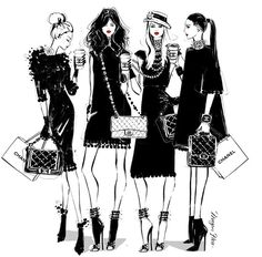 """""""On some Monday's, only a CHANEL will do. Coco Chino anyone? Arte Fashion, Fashion Design, Megan Hess Illustration, Kerrie Hess, Chanel Art, High End Fashion, Fashion Sketches, Fashion Illustrations, Boss Lady"""
