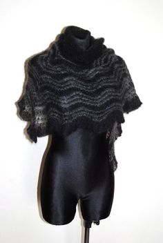 Black and grey hand knit lace shawl Black luxury by aboutCRAFTS