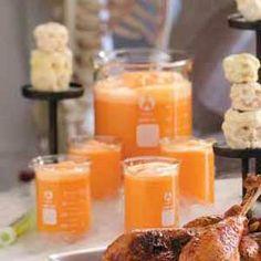 Mad Scientist Punch (2 cans (12 oz each) frozen pineapple-orange juice concentrate  2 cups water  1 envelope unsweetened orange Kool-Aid mix  2 liter lemon-lime soda 1 pint orange sherbet)