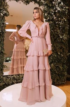 Long Sleeve Floor-Length Dress A-Line Dress Indian Fashion Dresses, Fashion Outfits, Evening Dresses, Prom Dresses, Floor Length Dresses, Mode Hijab, Dress To Impress, Pink Dress, Designer Dresses