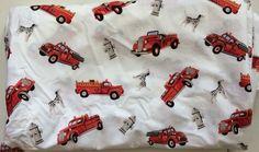 POTTERY BARN KIDS  Fire Truck Engine Dalmatian Hydrant Twin Flat Sheet Bedding #PotteryBarnKids