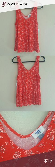 [Old Navy] Whimsy Dandelion Tank NWT Perfect tank for summer! Soft and flowy bright red tank with white floral dandelions printed throughout. Super cute!  Open to offers! Bundle and save 20%! Old Navy Tops Tank Tops