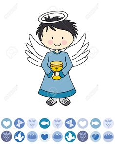 Boy first communion. Angel with a chalice. Boys First Communion, Scrapbooking, Smurfs, Religion, Google, Decoupage, Tags, Angels And Fairies, Eucharist