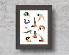 Illustrated Yoga Poses Print, Instant Download Yoga Poster Happy Vibes, Spiritual Gifts, Durga, Printable Art, Yoga Poses, First Love, Illustration, Prints, Poster