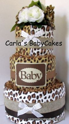 Leopard/Cheetah print diaper cake - Neutral color scheme.  Suitable for a boy or girl
