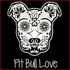 Sugar skull pit bull ♡