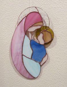 ✥ VIERGE A L'ENFANT JESUS ✥ MATERNITÉ ✥ VITRAIL TIFFANY ARTISANAL : Décorations…