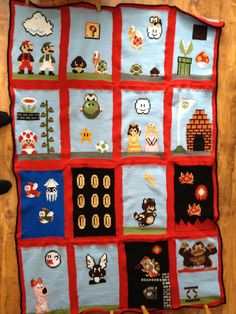 Mario Bros. knitted blanket.