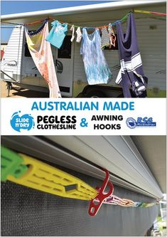 The BEST Australian made Pegless Clothesline is the Slide n' Dry!and the BEST Australian made awning hooks to hang them up are from RSG :) 4x4 Accessories, Camping Accessories, Clothes Line, Caravan, Clothes Hanger, Melbourne, Hooks, Hiking, Good Things