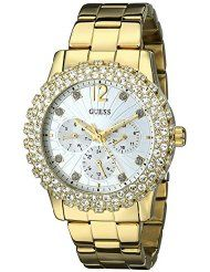 GUESS GOLD-TONE GENUINE CRYSTAL-ACCENTED CASE