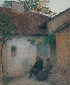 Couple en conversation devant la ferme, Henri Martin. French Post-Impressionist Painter (1860 - 1943)