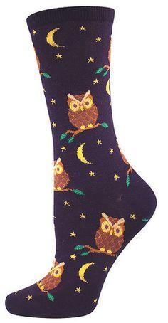 Socksmith Women's Night Owl Crew Socks (Navy)