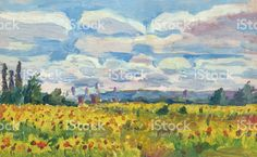 field of sunflowers painting royalty-free stock vector art