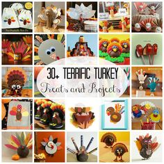I've rounded up some of the cutest turkey crafts on the web!  Here are 30+ Terrific Turkey Treats and Projects! via createcraftlove.com #turkeys #thanksgiving