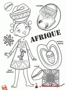 African paper doll to color Colouring Pages, Coloring Books, Kids Colouring, Africa Craft, Afrique Art, World Thinking Day, World Crafts, World Geography, World Cultures
