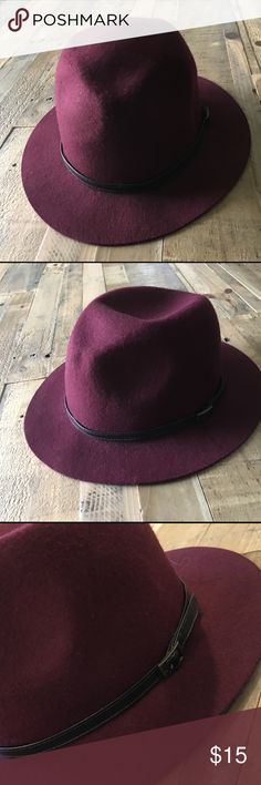 Felt hat Womens maroon felt hat with faux brown leather belt PacSun Accessories Hats