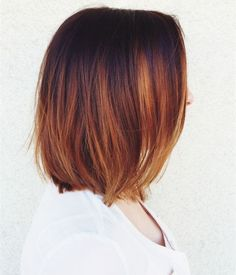 Wonderful Copper Ombre Lob hair