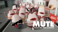 MUTE is an animated short about a world populated by people born without a mouth. When a gory accident leads to the discovery they are able to create their own mouth by cutting themselves, this releases an enthusiastic chain reaction among the population…  This 4 minute cgi short has been created by Job, Joris & Marieke, a Dutch studio for animation, illustration, character design and music. In 2011 Job, Joris & Marieke made the music video 'I'll take you along' …