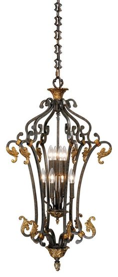 Features:  -Pendant.  -Walnut Patina finish.  -Caesar collection.  Product Type: -Foyer pendant.  Style: -Traditional.  Shade Material: -Glass.  Shade Color: -Brown.  Finish: -Walnut patina.  Hardware