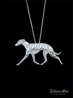Beautifully done! Embodies the true beauty of a show ring Whippet. Well worth it! Whippet movement jewelry - sterling silver pendant and necklace.