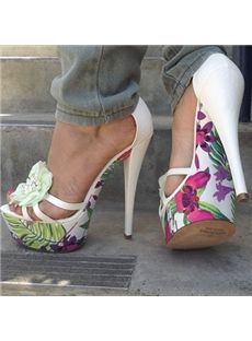 Should not be displayed with these jeans-white jeans or pink-takes away from shoe..Gorgeous Flower Print Platform High Heel Sandals