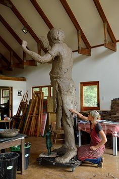 Now in my new studio in Balgowan I have this mountainous sculpture ready for building up with warm Plasticine and gently working in the details. There is still much work to be done!!