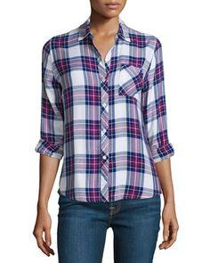Rails Hunter Plaid Long-Sleeve Shirt, White/Navy/Magenta