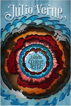 Ilustración en papel para la cubierta de Viaje al Centro de la Tierra de Verne