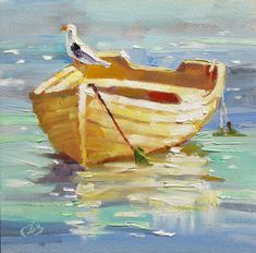 impressionist paintings | ... ART: BOAT, SEA GULL, HARBOR, COLORFUL IMPRESSIONIST OIL PAINTING by