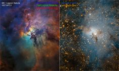 These NASA Hubble Space Telescope images compare two diverse views of the roiling heart of a vast stellar nursery, known as the Lagoon Nebula.