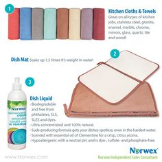 The Norwex kitchen cloths and towels are a favorite! So absorbent and awesome! Drying mat is equally awesome and I can't live without my dish detergent!