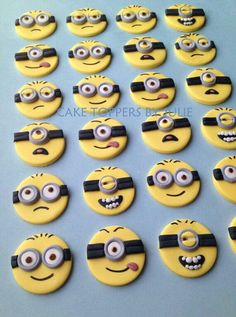 For my little minions birthday. 12 Minion Toppers by CakeToppersByJulie on Etsy… Cupcakes Dos Minions, Minion Cookies, Minion Cupcake Toppers, Minion Cake Pops, Fondant Cookies, Fondant Toppers, Cupcake Cookies, Torta Minion, Bolo Minion